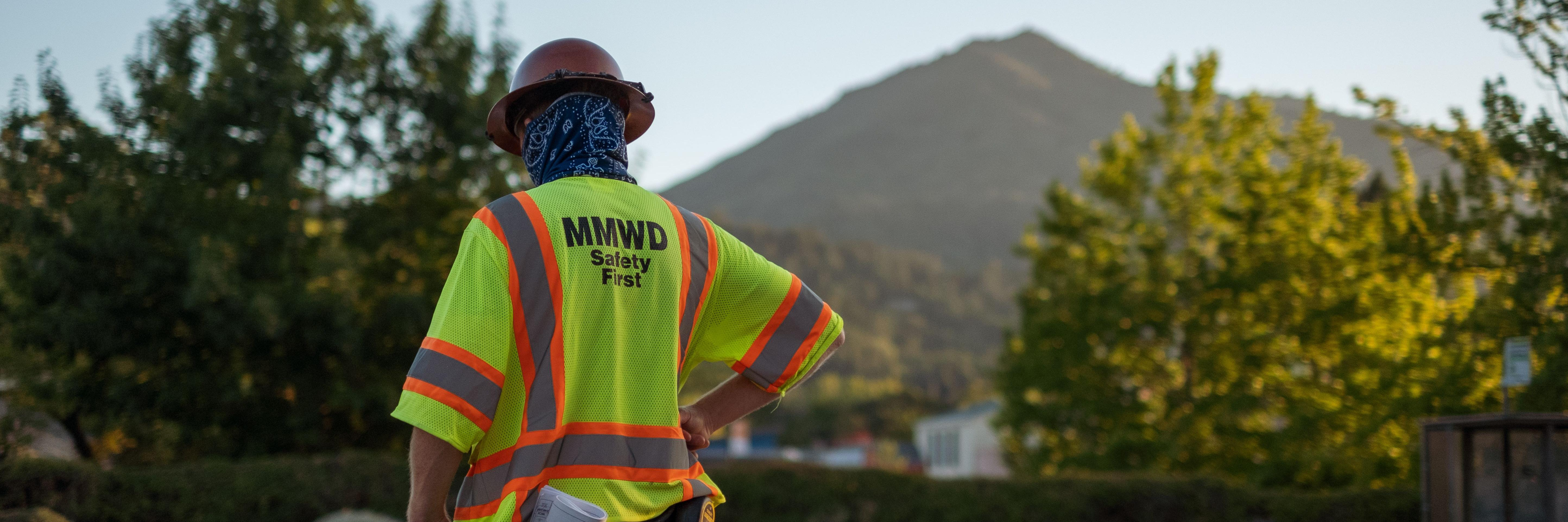Marin Water Worker with Mt. Tam in the background